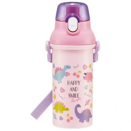 小禮堂 恐龍 日製 直飲式水壺 附背帶 塑膠水瓶 兒童水壺 隨身瓶 480ml Ag+ (粉紫 櫻桃)