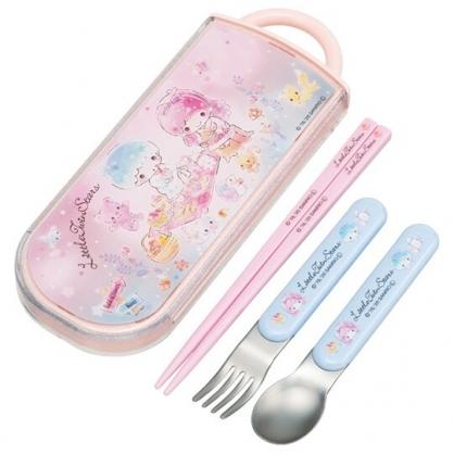 小禮堂 雙子星 日製 滑蓋三件式餐具組 叉匙筷 兒童餐具 環保餐具 Ag+ (粉 野餐)