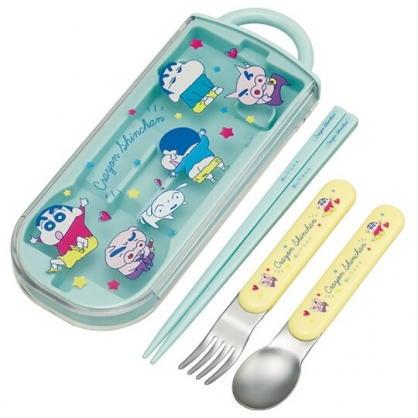 小禮堂 蠟筆小新 日製 滑蓋三件式餐具組 叉匙筷 兒童餐具 環保餐具 Ag+ (綠 星星)