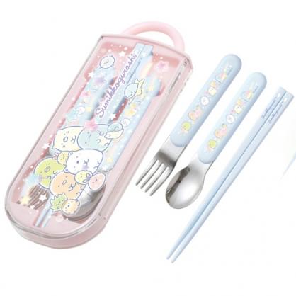 小禮堂 角落生物 日製 滑蓋三件式餐具組 叉匙筷 兒童餐具 環保餐具 (粉 糖果)