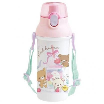 小禮堂 懶懶熊 日製 直飲式水壺 附背帶 塑膠水瓶 兒童水壺 隨身瓶 480ml (粉白 飲料)