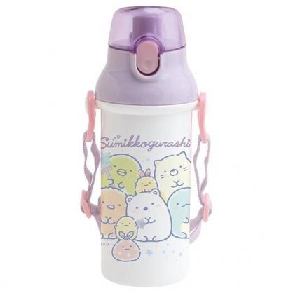 小禮堂 角落生物 日製 直飲式水壺 附背帶 塑膠水瓶 兒童水壺 隨身瓶 480ml (紫白 糖果)