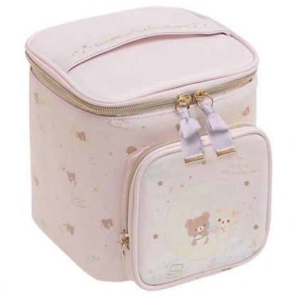 小禮堂 懶懶熊 皮質手提化妝包 皮質化妝包 盥洗包 化妝箱 (粉 天使)