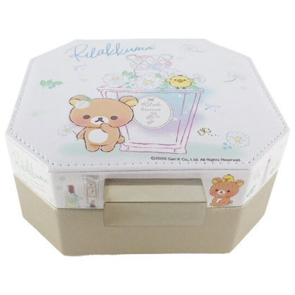 小禮堂 懶懶熊 八角型皮質飾品收納盒 皮質珠寶盒 首飾鏡盒 收納鏡盒 (白)