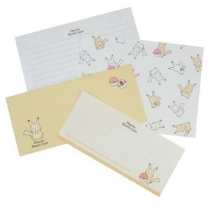 小禮堂 寶可夢 皮卡丘 日製 信紙組 信封 便條紙 便箋紙 萬用卡片 (黃 Q版)