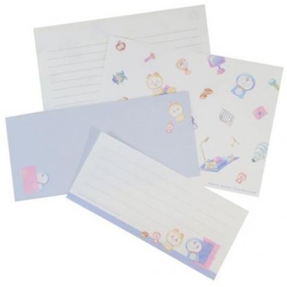 小禮堂 哆啦A夢 日製 信紙組 信封 便條紙 便箋紙 萬用卡片 (藍 小叮鈴)