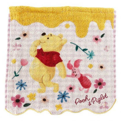 小禮堂 迪士尼 小熊維尼 純棉割絨方巾 純棉手帕 小毛巾 25x25cm (粉黃 花草)