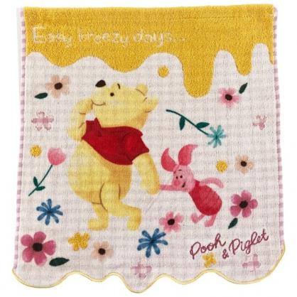 小禮堂 迪士尼 小熊維尼 純棉割絨短毛巾 純棉毛巾 方形毛巾 34x36cm (粉黃 花草)