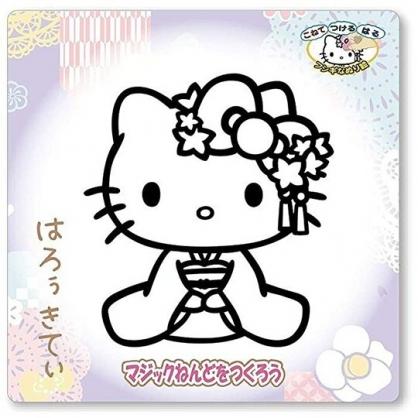 小禮堂 Hello Kitty 造型彩繪玻璃貼 玻璃裝飾貼 DIY彩繪貼 美勞玩具 (紫 和服)