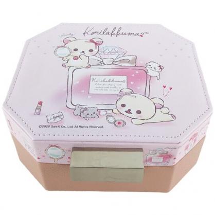 小禮堂 懶懶熊 牛奶熊 八角型皮質飾品收納盒 皮質珠寶盒 首飾鏡盒 收納鏡盒 (粉)