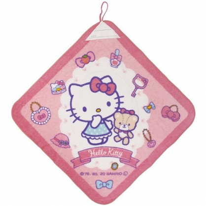 小禮堂 Hello Kitty 可掛式純棉割絨擦手巾 吸水毛巾 擦手毛巾 34x34cm (粉 小熊)