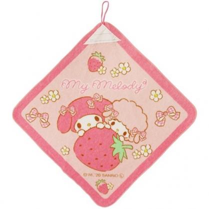 小禮堂 美樂蒂 可掛式純棉割絨擦手巾 吸水毛巾 擦手毛巾 34x34cm (粉 草莓)