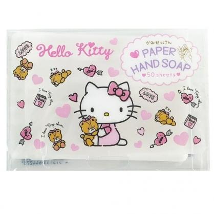 小禮堂 Hello Kitty 攜帶型盒裝紙肥皂 紙香皂 皂紙 (50入 粉 小熊)