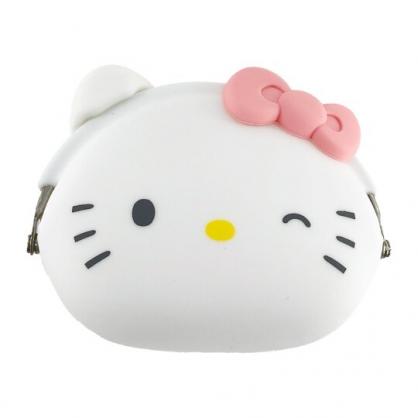 小禮堂 Hello Kitty 矽膠口金零錢包 防水零錢包 小物包 耳機包 口金包  p+g design (白 大臉)