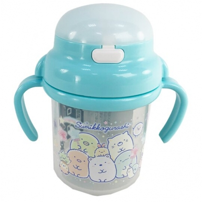 小禮堂 Hello Kitty 日製 幼兒彈蓋雙耳學習杯 塑膠學習杯 兒童水壺 吸管杯 270ml (綠 糖果)