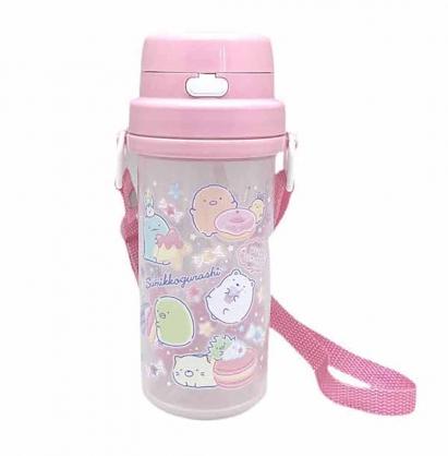 小禮堂 角落生物 日製 雙耳彈蓋吸水水壺 附背帶 塑膠水瓶 兒童水壺 隨身瓶 370ml (粉 糖果)