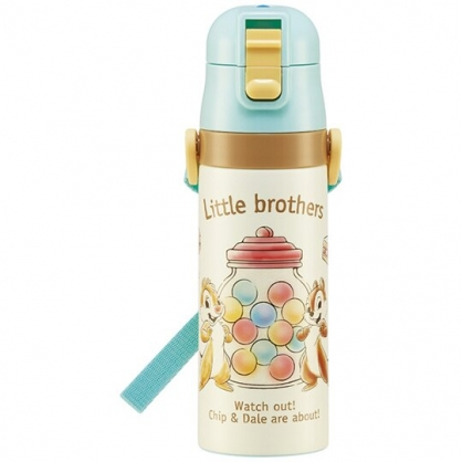 小禮堂 迪士尼 奇奇蒂蒂 彈蓋不鏽鋼保溫瓶 附背帶 不鏽鋼水瓶 兒童水壺 隨身瓶 470ml (米綠 糖果)