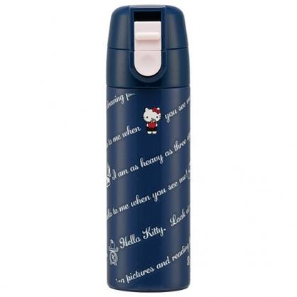 小禮堂 Hello Ktity 彈蓋不鏽鋼保溫瓶 不鏽鋼水瓶 兒童水壺 隨身瓶 140ml (深藍 文字)