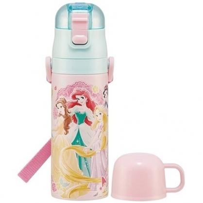 小禮堂 迪士尼 公主 兩用不鏽鋼保溫瓶 附背帶 不鏽鋼水瓶 兒童水壺 隨身瓶 470ml (粉 禮服)