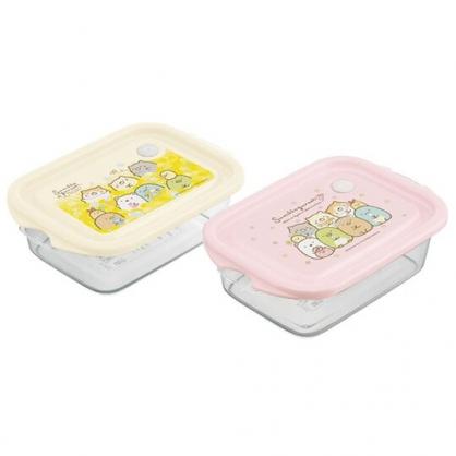小禮堂 角落生物 日製 方形微波保鮮盒組 塑膠保鮮盒 便當盒 500ml Ag+ (2入 粉 花圈)