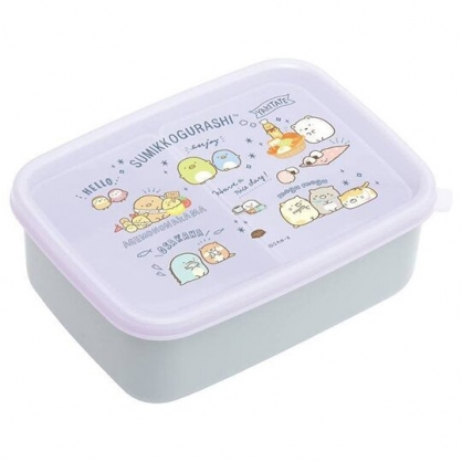 小禮堂 角落生物 日製 方形微波保鮮盒 塑膠保鮮盒 便當盒 600ml (紫 經典)