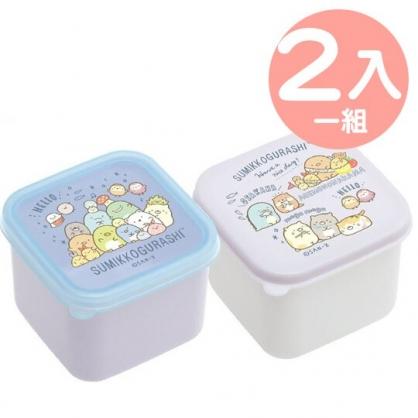 小禮堂 角落生物 日製 迷你方形微波保鮮盒組 塑膠保鮮盒 便當盒 130ml (2入 藍 團坐)