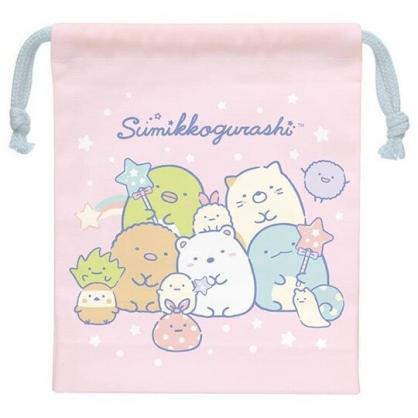小禮堂 角落生物 日製 棉質束口袋 文具袋 小物袋 縮口袋 15x19cm (粉 糖果)