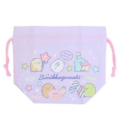 小禮堂 角落生物 日製 棉質束口便當袋 束口手提袋 小物袋 縮口袋 (紫 糖果)