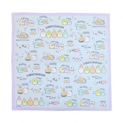 小禮堂 角落生物 日製 純棉紗布便當包巾 餐巾 手帕 桌巾 桌墊 43x43cm (藍 滿版)