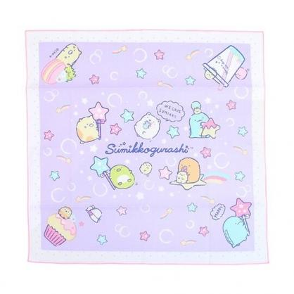 小禮堂 角落生物 日製 純棉紗布便當包巾 餐巾 手帕 桌巾 桌墊 43x43cm (紫 糖果)