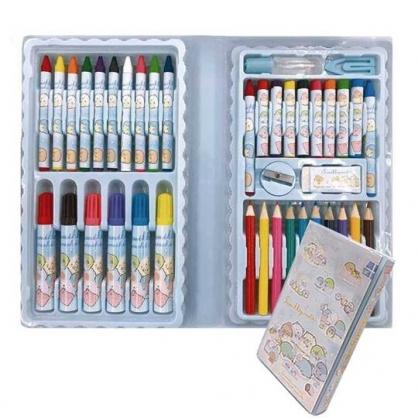 小禮堂 角落生物 手提盒裝繪圖文具組 彩色筆 蠟筆 色鉛筆 (藍 睡衣)