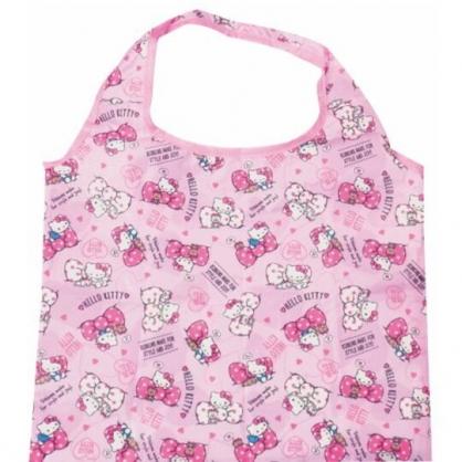 小禮堂 Hello Kitty 折疊尼龍環保購物袋 環保袋 側背袋 手提袋 (粉 蝴蝶結)