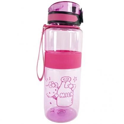 小禮堂 Hello Kitty 透明隨身冷水瓶 運動水壺 塑膠水瓶 兒童水壺 800ml (桃 牛奶)