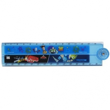 小禮堂 迪士尼 皮克斯 塑膠角度折疊尺 量角尺 透明尺 塑膠尺 30cm (藍 集合)