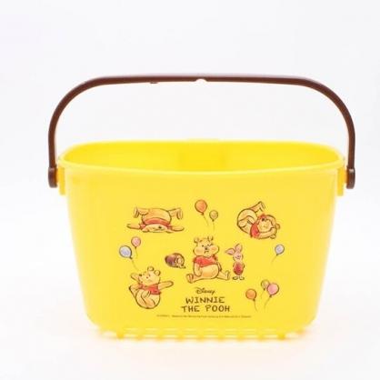 小禮堂 迪士尼 小熊維尼 手提通風收納籃 塑膠提籃 吊物籃 瓶罐架 濾水籃 (黃 汽球)