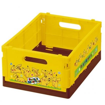 小禮堂 寶可夢 皮卡丘 折疊無蓋收納箱 塑膠收納箱 折疊收納箱 小物箱 (S 黃 音符)