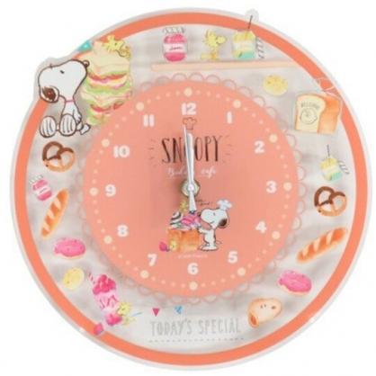 小禮堂 史努比 圓形壓克力壁掛鐘 透明壁掛鐘 時鐘 壁鐘 圓鐘 (橘 麵包)