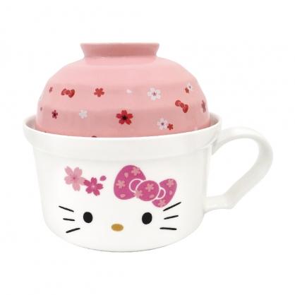 小禮堂 Hello Kitty 單把陶瓷泡麵碗 泡麵杯 湯杯 強化瓷 (櫻花系列陶瓷餐具)