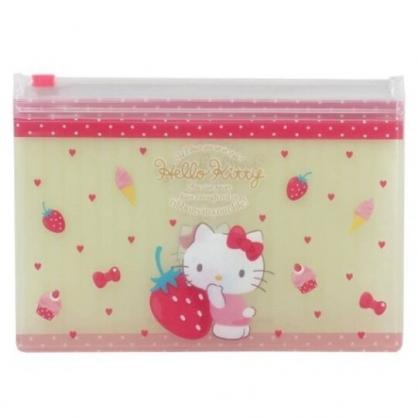 小禮堂 Hello Kitty 防水口罩夾鏈袋 透明口罩包 口罩夾 口罩套 (黃粉 草莓)