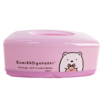 小禮堂 角落生物 方形塑膠面紙盒 抽取式紙巾盒 衛生紙盒 口罩盒 (粉 北極熊)