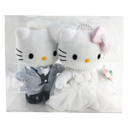 小禮堂 Hello Kitty x Daniel 絨毛玩偶組 結婚娃娃 婚禮娃娃 中型玩偶 透明盒裝 (2入 黑白婚紗)