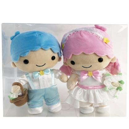 小禮堂 雙子星 絨毛玩偶組 結婚娃娃 婚禮娃娃 中型玩偶 透明盒裝 (2入 粉藍婚紗)