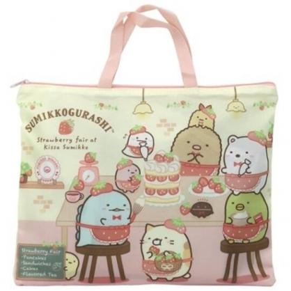 小禮堂 角落生物 橫式尼龍手提袋 尼龍托特包 書袋 補習袋 (紅黃 草莓)