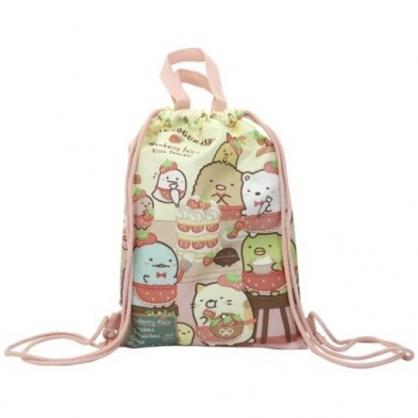 小禮堂 角落生物 尼龍束口後背袋 尼龍手提袋 後背包 束口袋 縮口袋 (紅黃 草莓)