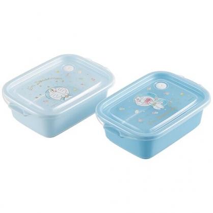 小禮堂 哆拉A夢 日製 方形微波保鮮盒組 塑膠保鮮盒 便當盒 500ml Ag+ (2入 藍 眨眼)
