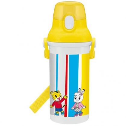 小禮堂 巧虎 日製 直飲式水壺 附背帶 塑膠水瓶 兒童水壺 隨身瓶 480ml Ag+ (黃 直紋)