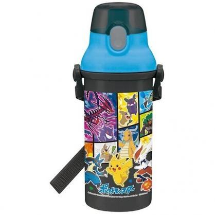 小禮堂 寶可夢 皮卡丘 日製 直飲式水壺 附背帶 塑膠水瓶 兒童水壺 隨身瓶 480ml Ag+ (黑 格圖)