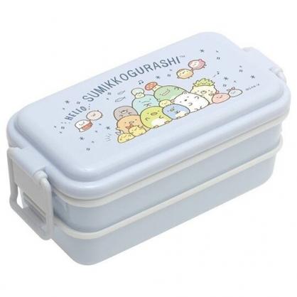 小禮堂 角落生物 方形雙層微波便當盒 雙扣便當盒 塑膠便當盒 保鮮盒 660ml (藍 團坐)