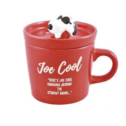 小禮堂 史努比 陶瓷馬克杯 附造型蓋 寬口杯 咖啡杯 茶杯 大西賢陶瓷 (紅 墨鏡)