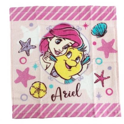 小禮堂 迪士尼 小美人魚 純棉割絨短毛巾組 純棉毛巾 方形毛巾 34x35cm (2入 粉 抱抱)